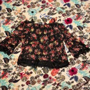 Black flowered shirt